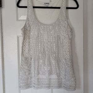 Express cream colored tank with silver